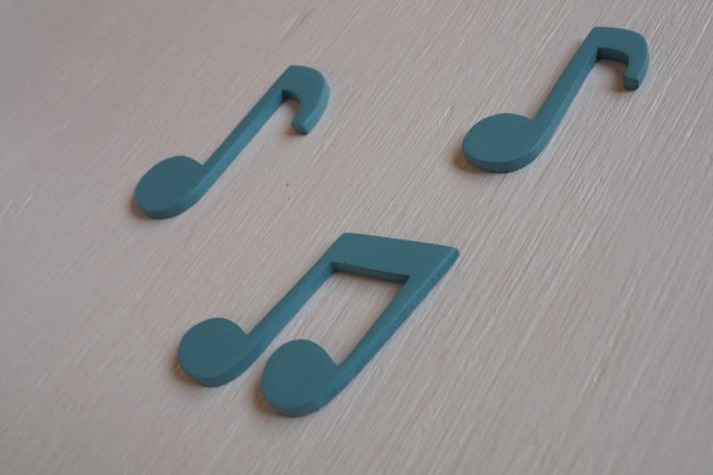 notas de música de madera