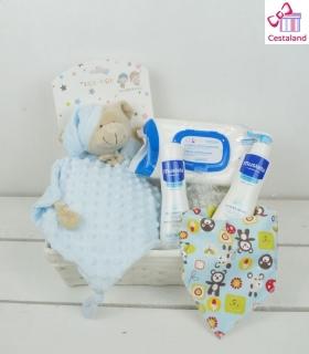 Cesta para bebés topitos mustela. Comprar canastillas para bebés mustela