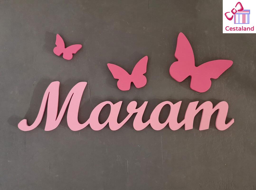 nombre madera decorativo con mariposas