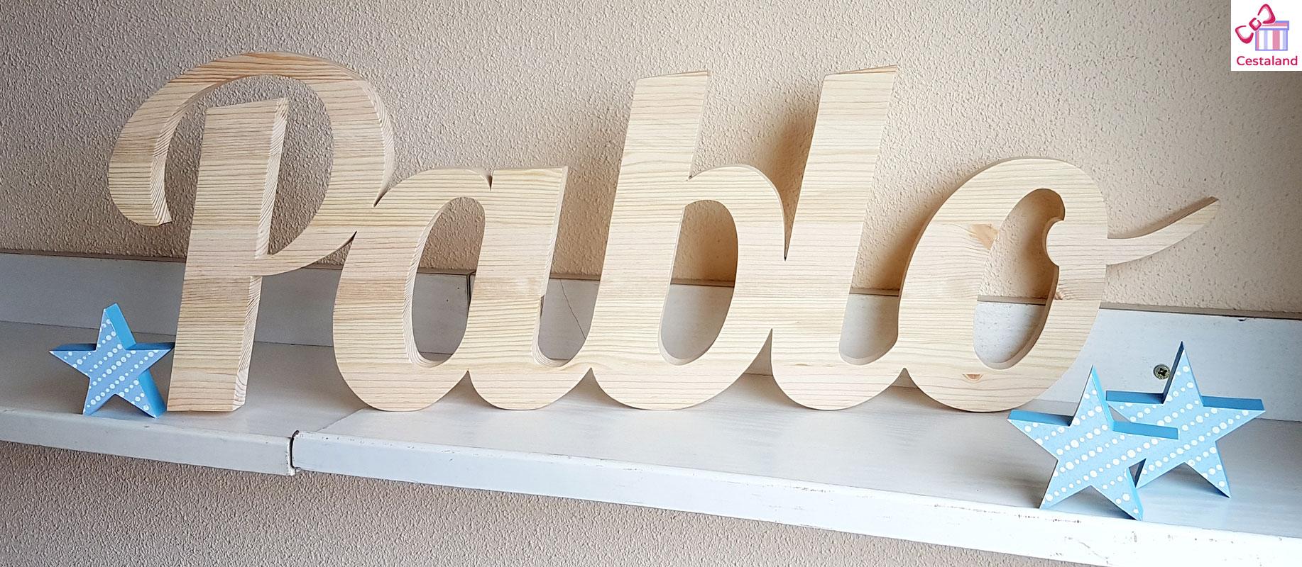 letras de madera natural Pablo