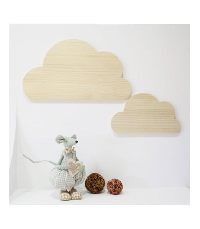 Pareja de Nubes en madera natural. Formas de madera