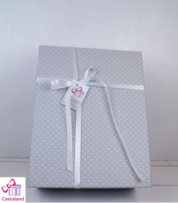 Cajas para regalos gris topitos