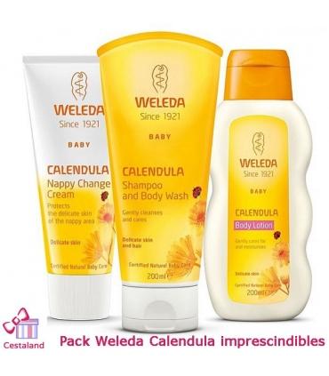 Pack imprescindibles de Caléndula Weleda: Gel-champú, Leche y crema Pañal