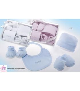 Set recién nacido: gorro, manoplas, babero y patucos para bebés gamberritos