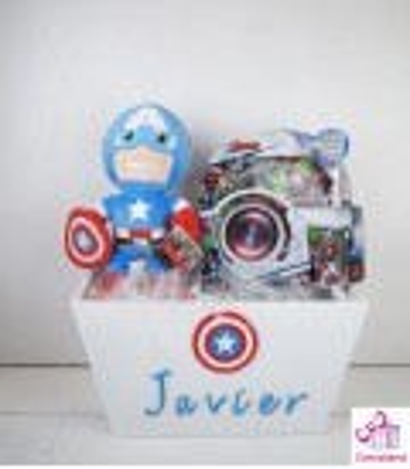 Caja personalizada Capitán América. Regalos frikis star wars para bebés