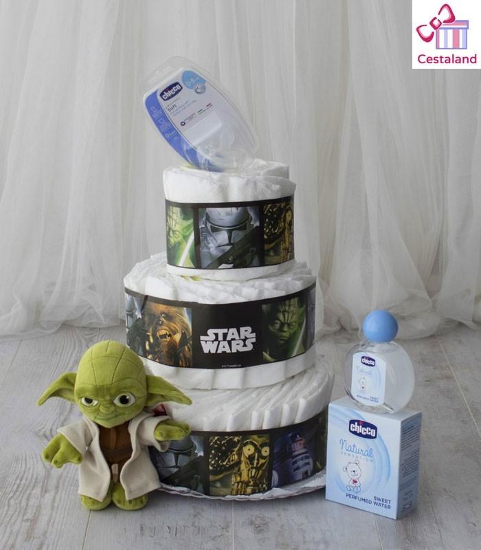 Star wars tartas de pañales 3 pisos. Comprar regalos frikis para bebés