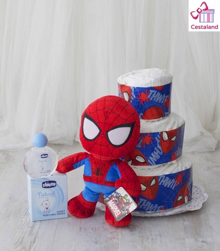 Tarta Pañales Spiderman 3 pisos. Regalos frikis para bebés