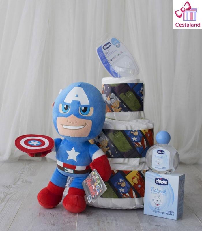 Tarta Pañales Superhéroes Vengadores 3p. Regalos frikis para bebés