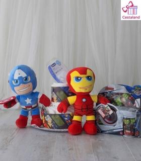 Tarta Pañales Superhéroes Vengadores 2 pisos. Comprar Regalos frikis para bebés