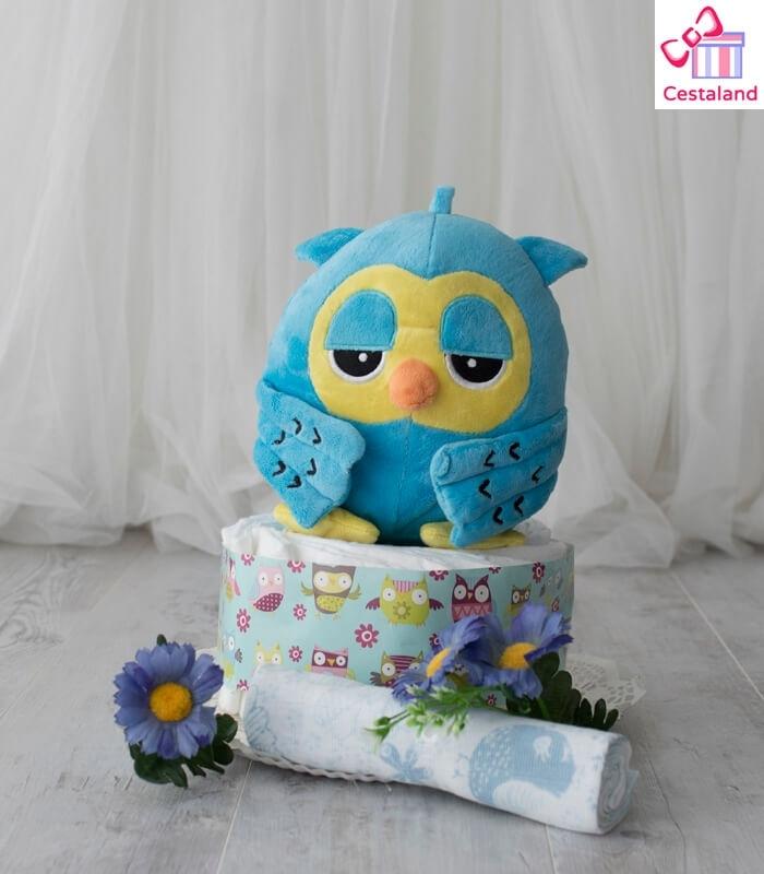 Tarta Buho dormilon 1 piso. Comprar tarta de pañales online