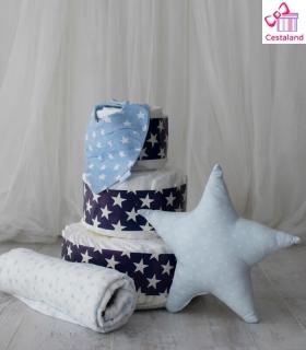 Tarta pañales estrellas 3 pisos con MUSTELA. Comprar tartas de pañales originales