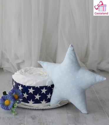 Tarta pañales estrellas 1 piso con MUSTELA. Comprar tartas de pañales originales