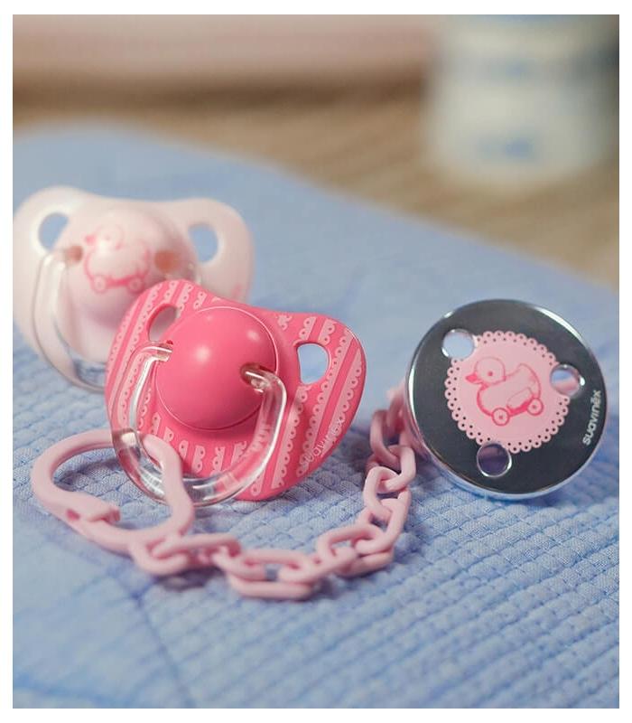 Chupete y cadenita rosa suavinex. Regalos para niñas y recién nacidas