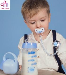 Chupete y cadenita azul suavinex. Regalos para niños y recién nacidos