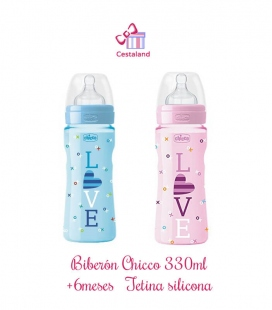 Biberón chicco 330ml +4m