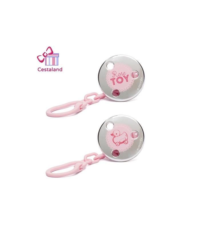 Broche cadenita jewel rosa suavinex. Regalos para niñas y recién nacidas