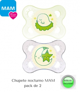 Chupetes Nocturnos MAM Night (0-6m) pack 2. Comprar chupetes MAM