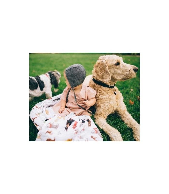 Muselina Algodón Woof perros. Comprar muselina para bebé