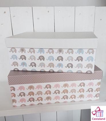 Maletín Elefantes Cestas para Bebés. Canastillas Personalizadas