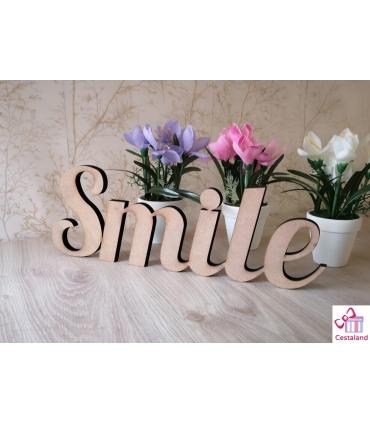 Smile en letras de madera