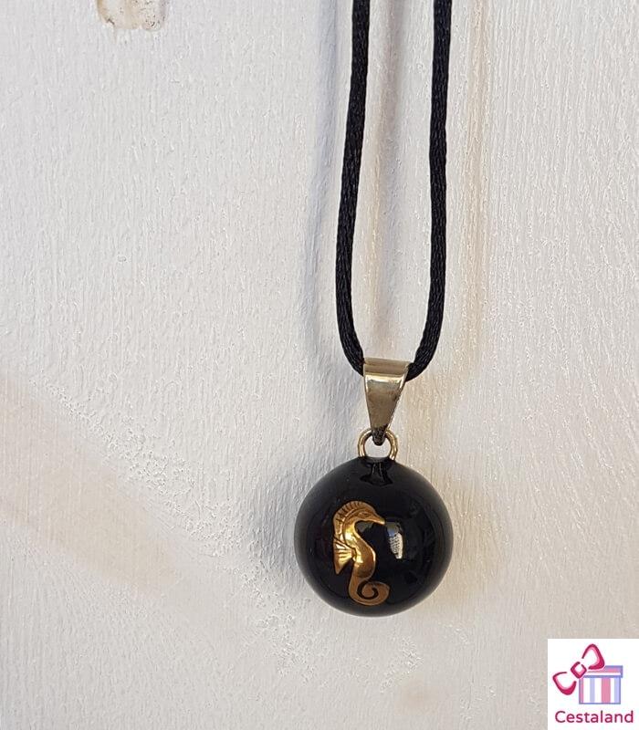 Llamador de ángeles Negro caballito de mar. Bolas joyas para embarazadas. Regalos para embarazadas