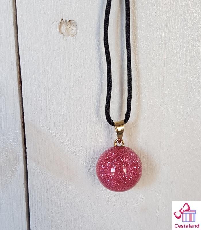 Llamador de ángeles Purpurina Rosa. Bolas joyas para embarazadas. Regalos para embarazadas