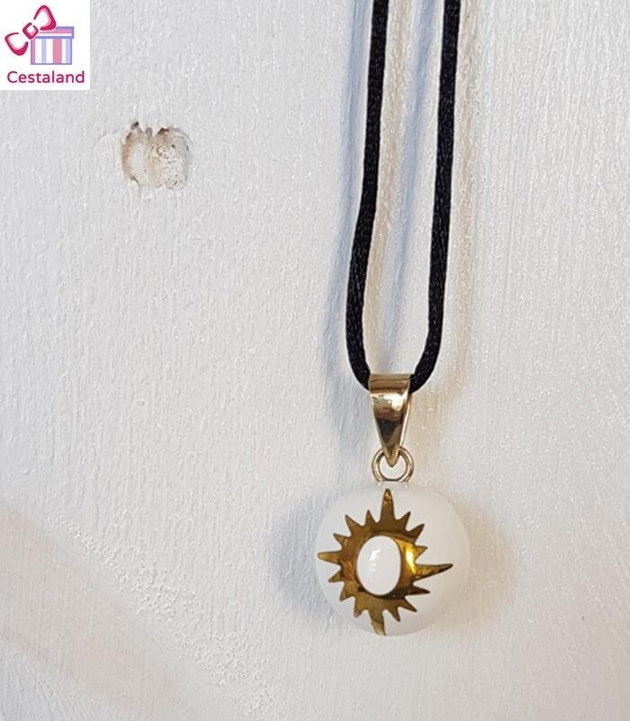 Llamador de ángeles Blanco con Sol dorado. Bolas joyas para embarazadas. Regalos para embarazadas