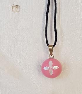 Llamador de ángeles Rosa con flor nacar. Bolas joyas para embarazadas. Regalos para embarazadas