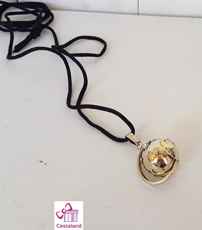 Llamador de ángeles Plata con estrella y luna. Bolas joyas para embarazadas. Regalos para embarazadas