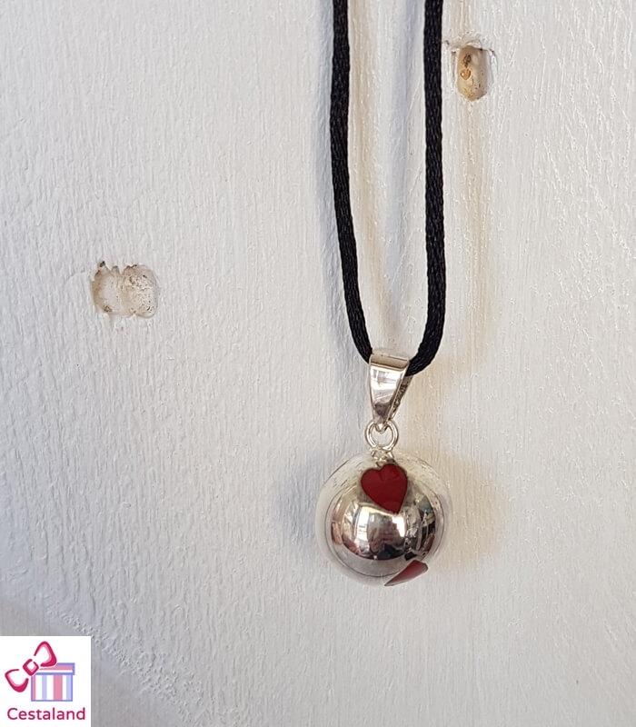 Llamador de ángeles Plata con corazones rojos. Bolas joyas para embarazadas. Regalos para embarazadas