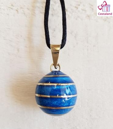 Llamador de ángeles Azul con espiral de Plata. Bolas joyas para embarazadas. Regalos para embarazadas