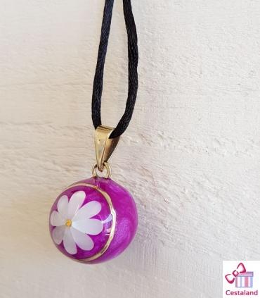 Llamador de ángeles Rosa brillo con flor de nacar. Bolas joyas para embarazadas. Regalos para embarazadas