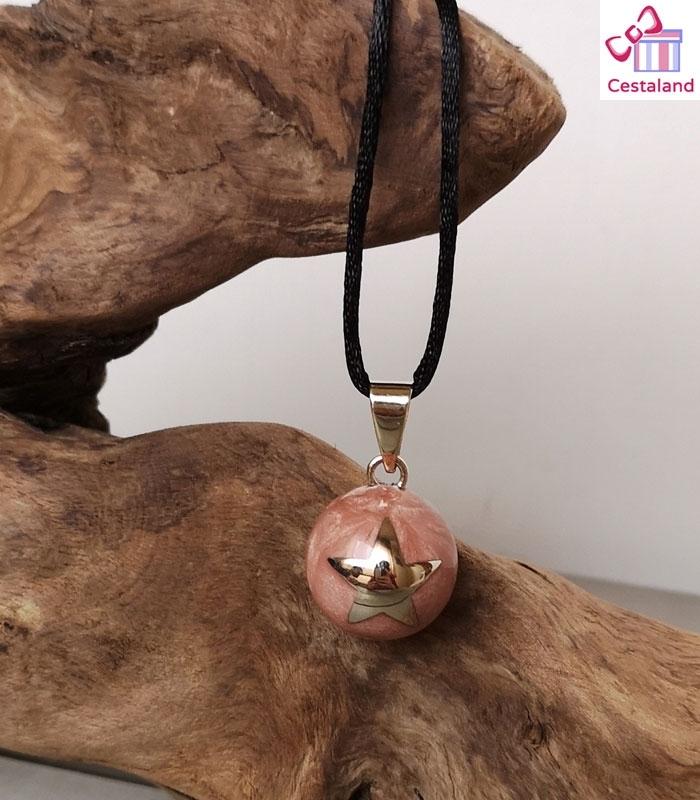 Llamador de ángeles rosa mármol con estrella plata