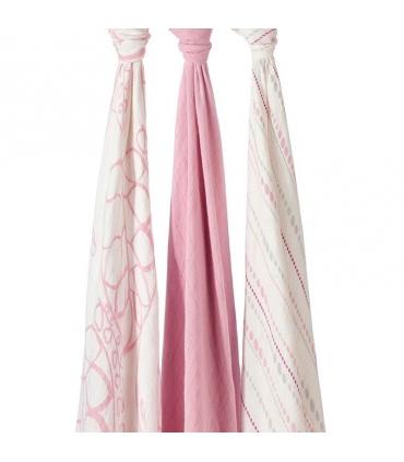 Muselina Aden + Anais grande 120x120cm bambu tonos rosas.Comprar muselina bebé