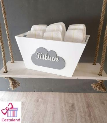 Caja cesta madera personalizada lacada