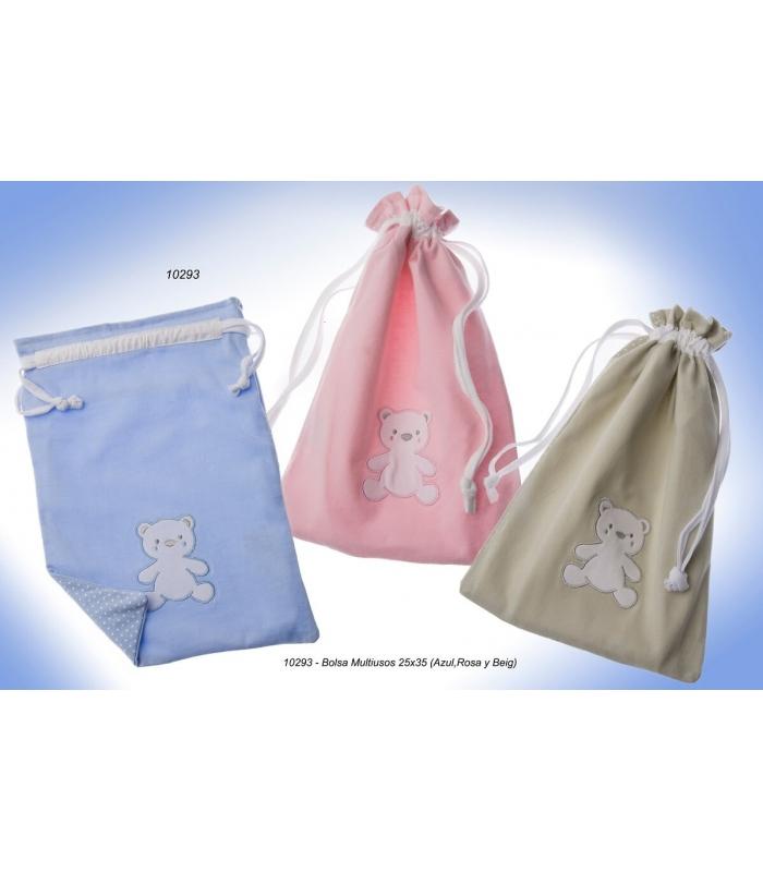 Bolsa merienda bordada personalizada oso. Comprar bolsa bebe bordada