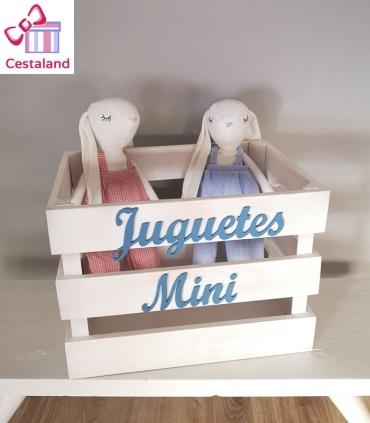Baúl de madera juguetero cesto rústico