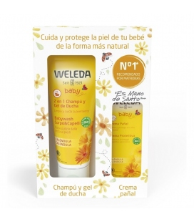 Pack Weleda Champú y Gel de Ducha de Caléndula 200ml + crema pañal 30ml