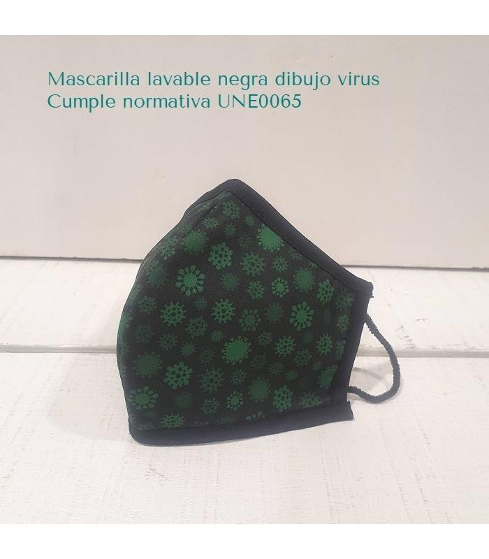 Mascarilla lavable tela negra con virus verdes