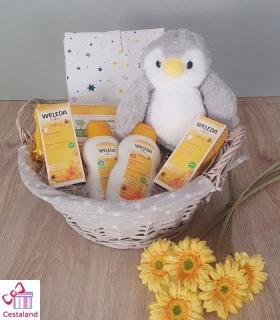 Cesta Weleda Pinguino. Canastilla para bebés.